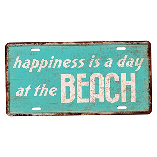 tallblechschild Plaque Wand Blatt Kunst Poster Home Cafe Auto - Happiness is A Day at The Beach ()