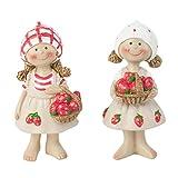 Garten Deko Figur Erdbeer Mädchen Set 2x Stehend