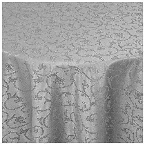 MODERNO Tischdecke Damast Stoff -Barock Design Tulpen- Tischtuch Bügelarm oval 140x190 cm in Grau - umgenähter Rand und Öko Tex Zertifikat Premium Eckig Oval Rund