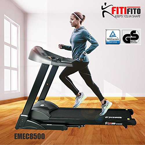 Fitifito 8500 Profi Laufband 7PS 22km/h mit LCD Bildschirm, Dämpfungssystem, 5 Trainingsmodulen inkl. HRC - Klappbar, Schwarz