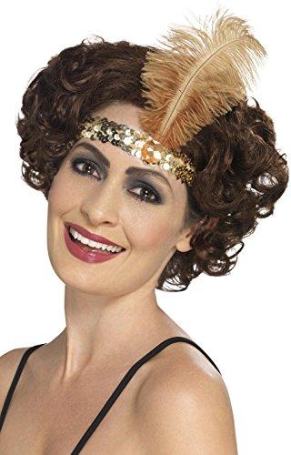 Smiffys, Damen Flapper Stirnband mit Feder, One Size, Gold, (Goldenen Kostüme Jahre Zwanziger)