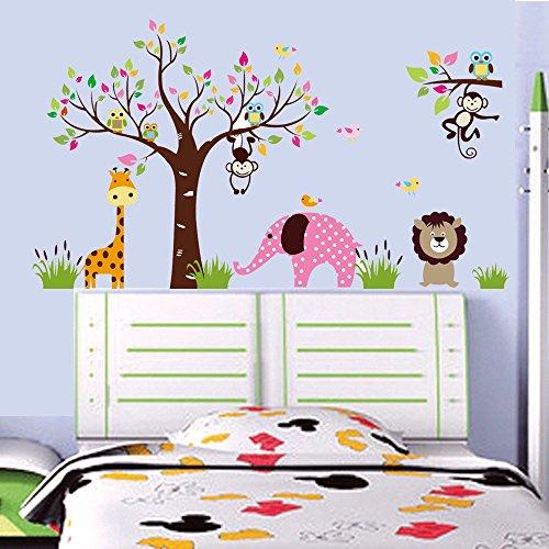 ALLDOLWEGE La simple caricatura Monkey Forest animal elefantes tatuajes de pared dormitorio...