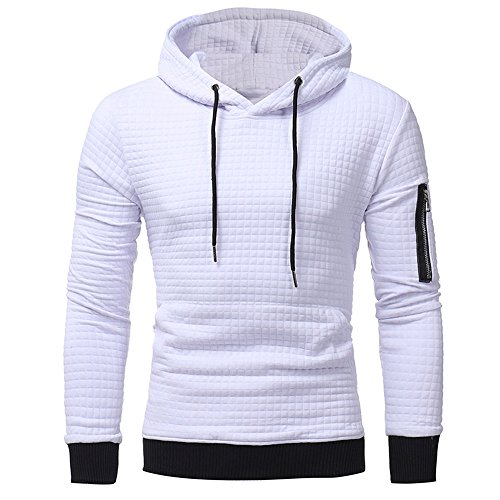 LANSKIRT Sweatshirt-Oberteile der Männer Langarm-Plaid Hoodie mit Kapuze Jacke Mantel Outwear Kapuzenjacke Kapuzenpullover