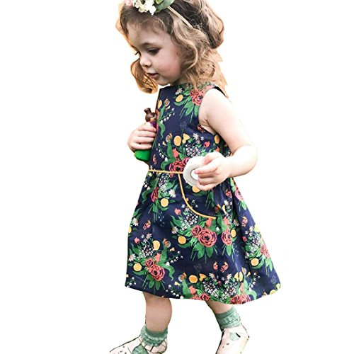 Elecenty Kinder Prinzessin Kleid Mädche,Blumenmuster Kleider Lose Ärmellos Maxikleid Baby...