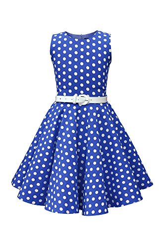 BlackButterfly Kinder 'Audrey' Vintage Polka-Dots Kleid im 50er-J-Stil (Königsblau, 11-12 J / ()