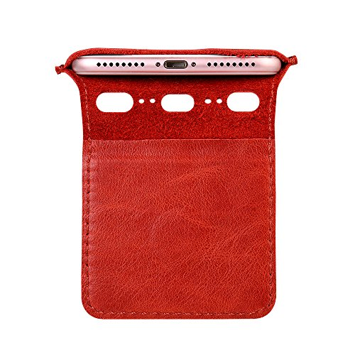 IPhone 7 Plus/ 8 Plus Hülle, Jisoncase VINTAGE Ledertasche für iPhone 7 Plus/ 8 Plus Tasche Case in klassische Farbe aus hochwertigem Leder rot, JS-I6L-11A30 Rot