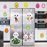 Chuangdi 53 Pièces Autocollants de Fenêtre de Pâques Stickers Muraux d'Oeufs de Lapin de Pâques Autocollants Amovibles de Réfrigérateur pour Décorations de Portes de Fête