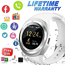 Bluetooth Smart Watch Waterproof Smartwatch With Camera Sim Tf Card Slot Touch Screen Phone Unlocked Cell Phone Watch Sports Smart Wrist Watch For Android Phones Samsung Ios Iphone Men Women Kids (Y-white)