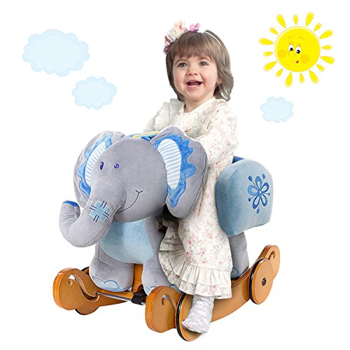 Labebe Caballo Mecedora de Madera 2-en-1 Elefante Azul, niños Rocking Ride-on Juguetes de 6...