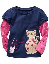 BOBORA Bebe Filles Belle Caricature Imprime Manches Longues Tops T-Shirts