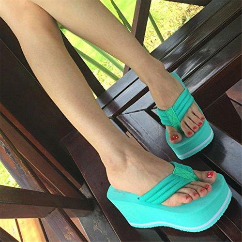 Lalang Femmes Plate-Forme Talon Compensé Claquettes Sandales tongs chaussures de plage Vert
