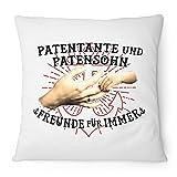 Fashionalarm Kissen Patentante und Patensohn - Freunde für immer - 40x40 cm mit Füllung | Geburtstag Geschenk Idee Geburt Junge Cool Weihnachten, Farbe:weiß