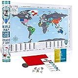 Mappa del Mondo da Grattare con Bandiere - Poster Bandiere del Mondo Mappa - Cartina Mondo da Grattare 68 x 48 cm - Scratch off World Travel Map Poster Mappa Viaggi - Regalo per Viaggiatori