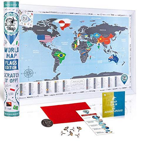 Weltkarte zum Rubbeln mit Flaggen - Rubbel Weltkarte Poster 68x48cm Delux Silber - Premium Qualität Landkarte Freirubbeln - Scratch off World Travel Map Flags Geschenk für Reisende - Discovery Map