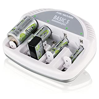 ANSMANN Basic 5 plus Tischladegerät für 1-4 NiMH oder NiCd Akkus / Dauerlader für Micro AAA  Mignon AA  Baby C  Mono D & 9V E-Block / Mit Ladeanzeige  Verpolschutz & automat. Ladestromanpassung