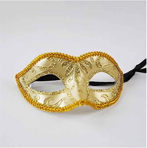 Party Maske Halloween Maskerade Erwachsene Kind Half Face Kleine Fee Gold Pulver Maske, Gold