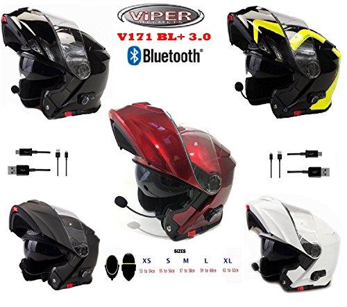 Bluetooth casco moto - viper v171 bl+ 3.0 casco modulare da moto, bluetooth flip up touring casco ribaltabile - bianco - m