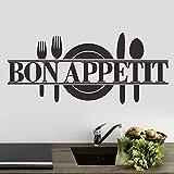 """ufengke® """"Bon Appetit"""" Placa de Cuchillo y Tenedor Pegatinas de Pared, Cocina Comedor Removible Etiquetas de La Pared / Murales, Negro"""