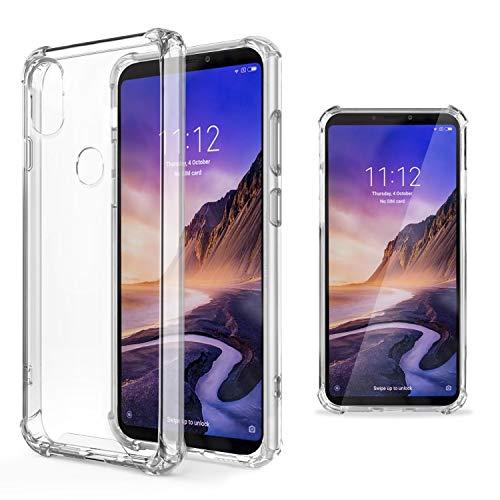 Moozy Transparent Silikon Hülle für Xiaomi Mi Max 3 - Stoßfest Klar TPU Case Handyhülle Schutzhülle