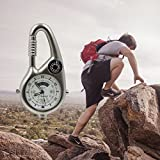 SZPLUS Taschenuhr für Wandern Outdoor Gürteluhr mit Licht + Kompass + Karabiner - 4