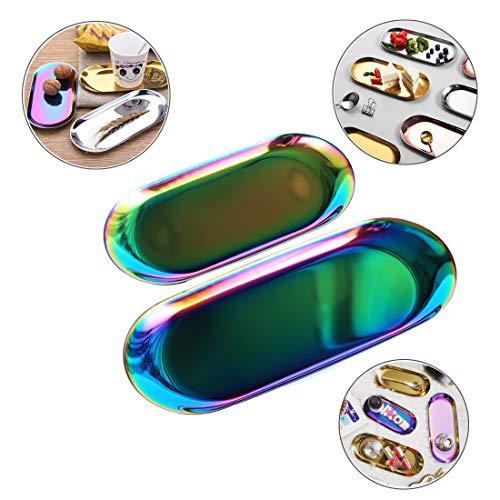 MQUPIN Kosmetik-Schmucktablett aus Edelstahl, dekoratives Tablett für Uhren, Münzen, Schlüssel, Armbänder, Parfüme, Gesichtspflegeprodukte, 3 Stück, Regenbogenfarben, 2 PCS
