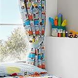 Happy Linen Company Set de Cortinas Infantiles de galón Fruncido - Estampado con excavadoras Grandes - 168 x 183 cm - Gris