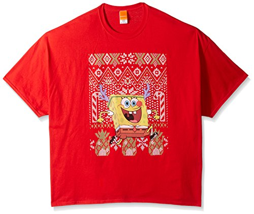Nickelodeon Herren T-Shirt Big and Tall Sponge Bob Rudolph Ugly Christmas - Rot - (Patrick Von Spongebob Kostüm)