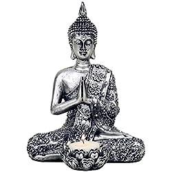 Buda con vela Soporte Plata 20,5cm Meditación spirituell