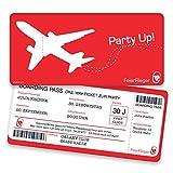 Einladungskarten zum Geburtstag - Boarding Pass | 10 Stück | Inkl. Druck Ihrer persönlichen Texte | Individuelle Einladungen | Karte Einladung