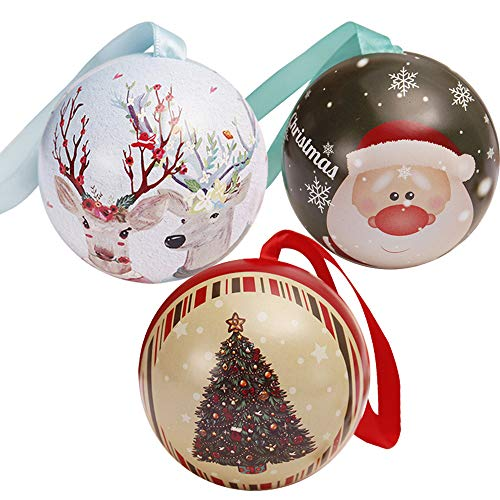 BESSKY Tinplate Round Ball Boxes Galaxy Reindeer Santa Tree Hanging Decorations Party 3 Weihnachtssüßigkeitskästen