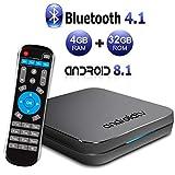 Android TV BOX, KM9 Android 8.1 TV BOX 4GB RAM/32GB ROM Amlogic S905X2 Quad Core TV Box Supporto 2.4GHz/5.0GHz WiFi Bluetooth 4.1 LAN Ethernet 10/100M 3D 4K Mini TV Box