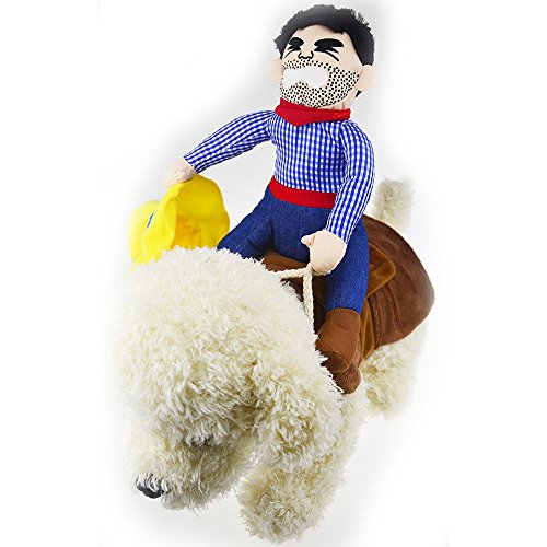 Riding Horse Hund Cowboy Kostüm mit Hut für kleine groß Hund Hund Pet Cat Funny Golden Retriever Halloween Party Kostüm Outfits (Kostüm Hut Großer Cowboy)