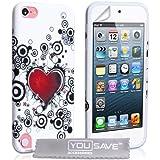 Yousave Accessories AP-GA01-Z752 Coque en gel pour iPod Touch 5G Motif Cœur Blanc/Rouge