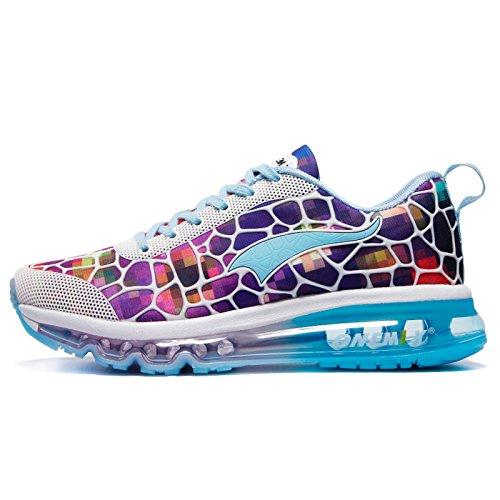 Onemix Damen Laufschuhe Air Sneaker mit Luftkissen Turnschuhe Straßenlaufschuhe Sportschuhe Bunt