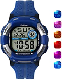 Digital Watch For Boys 7-color Flashing Light Water Resistant 100FT Alarm Watch For Kid Age 4-12 (BLUE)