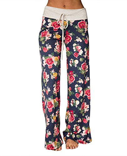 FASTYLING Damen Sporthose lang Freizeithose Ladies Floral Print Wide Leg Long Trousers