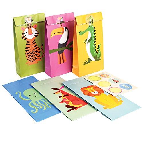 Partytüten für Migebsel für Kinder auf dem Kindergeburtstag mit Aufkleber zum verschließen, 6 Stük (Safari)