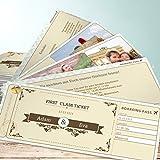 Hochzeitseinladung Foto, Hochzeitsticket 200 Karten, Kartenfächer 210x80 inkl. weißer Umschläge, Braun