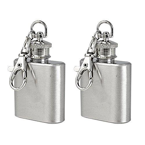 2X MENGS® 1 Unze Flachmann mit Schlüsselanhänger für besonderen Anlässen(Hochzeit, Sport, Golf), hochglanzpoliertem Edelstahl, mini Whisky Liquor Vodka Alcohol Hip Flask