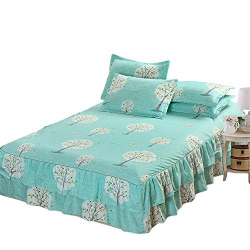 Colinsa Floral Spannbetttuch Queen Dust Rüsche Kissenbezug Geschnürt Spannbetttuch Bett Cover Baumwoll-matratze Cover-60 x 80 inch(150 x 200cm),B1