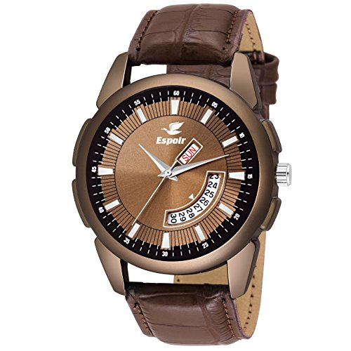 Espoir Analogue Brown Dial Day and Date Men\'s Boy\'s Watch - Smith0507
