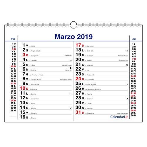 Calendario 2019 OLANDESE da muro 3 mesi ORIZZONTALE Calendario classico