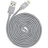 OPSO Apple Ladekabel [Apple MFi zertifiziert] Nylon Geflochten Lightning USB Kabel 2m für iPhone 7 6s 6 Plus SE 5s, iPad Pro, iPad mini, iPod touch / nano - Grau