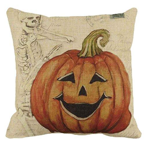 Kolylong Halloween Pumpkin Square Pillow Cover Cushion Pillowcase (A)