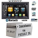 VW Passat 3C CC B6 B7 - Autoradio Radio Xzent X-202BT MKII   2-Din Bluetooth DVD CD USB HDMI Touch Bildschirm PKW - Einbauzubehör - Einbauset