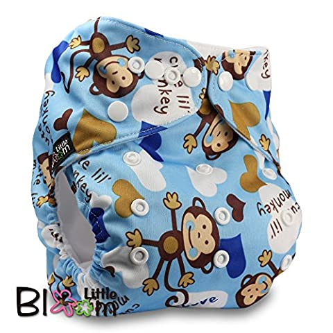 LittleBloom, Reusable Pocket Cloth Nappy, Fastener: Popper, Set of 1, Pattern 20, Without Insert, (see
