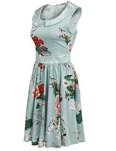 cooshional Femmes Robe Vintage Casual Collier De Poupée Sans Manches Imprimé Floral Couleur Contrastée Robe A-Line Plissé Bleu clair