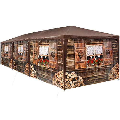 tectake 403122 - Tonnelle de Jardin Motif Chalet 3x9 m, 8 Parties latérales Amovibles, Charpente métallique Stable