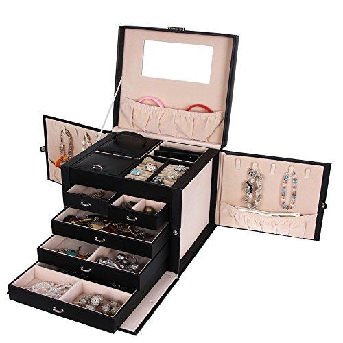 Songmics XXL Schmuckkästchen abschließbar mit spiegel Schublade und Mini-Box 5 Schichten mit 5 Schubladen Schwarz JBC05B - 3