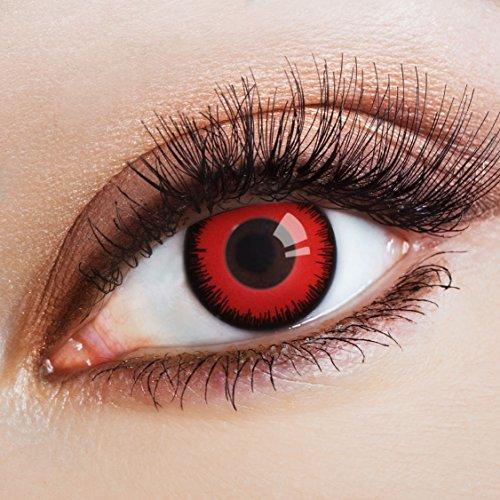 aricona Farblinsen – deckend rot – farbige Kontaktlinsen mit schwarzem Rand – bunte, farbig intensive rote Jahreslinsen für Halloween & - Komplette Geschichte Halloween-die